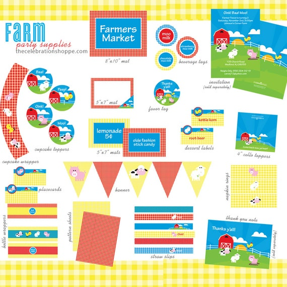 FARM Birthday PRINTABLE PARTY Collection from The Celebration Shoppe