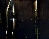 Lighted Doorway in Shadow Barn Door Rustic
