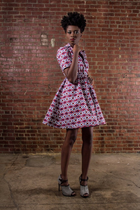 NEW The Portia Dress- African Print  100% Holland Wax Cotton