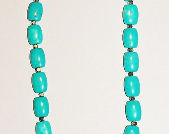 Natural Gemstone Necklace - Turquoise and Silver - S2376