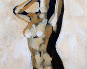 "Figure painting small original female nude -  Sepia tones 5x7"" acrylic on panel - black brown white impressionist fine art by Cristina Jacó"