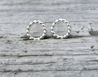 Twisted Circle Sterling Silver Studs Earrings, Silver Studs, Circle Studs, Silver Circle - ST1