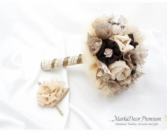 Set of 2 Bridal Brooch Flower Bouquet + Groom Father Wedding Boutonniere Jeweled with Pearls and Crystals in Champagne,Latte Brown Chocolate