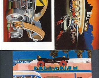 3 Vintage Paper Moon Retro Notecards Graphics