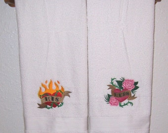 HIS and HERS Hearts Towel Set - Flaming Heart and Roses Heart Embroidered Bath Towels - For Newlyweds, Anniversary, Wedding Gift  Home Decor