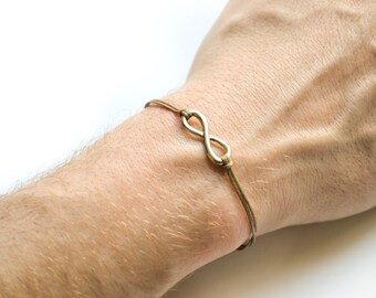 Infinity bracelet for men, brown cord men's bracelet with a silver infinity charm, gift for him, endless, friendship bracelet, yoga bracelet