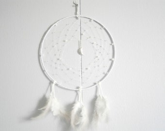 Silver Moon Dreamcatcher - Pale Blue Dream Catchers - Native American Wall Decoration - Southwestern , Hippie Boho style - Large Dreamcather