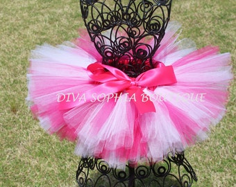 Hot Pink and White Tutu - Newborn Baby Infant Tutu - Toddler Tutu