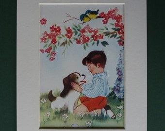1953 Vintage Enid Blyton Print Of A Boy & His Dog - Man's Best Friend - Willy Schermele - Blue Tit Print - Pet Puppy Dog Art - Retro 1950s