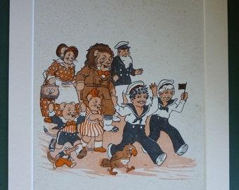 1930s Vintage Children's Print - Jolly Jack Illustration - Sailor Boy - Available Framed - Children's Art Print - 1930s Decor - 1930s Art