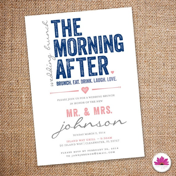 The morning after wedding brunch invitation 5 by for Wedding brunch invitations
