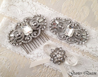 Art Deco Off White Lace Garter and Haircomb Set, Personalized Wedding Garter Set, Bridal garter Set, Crystal Haircomb, Art Deco Haircomb