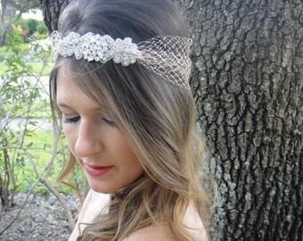 Bridal HeadPiece, Bridal Bandeau, Bohemian Headpiece, Bridal Halo,  Bridal Head Piece, Bridal Headband, Crystal Headpiece, Boho Bride