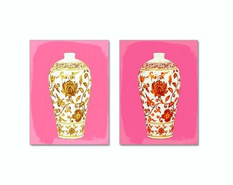 Chinoiserie Set of 2 prints, Hot Pink Wall Art, Hot Pink Orange Yellow Asian Vase Prints, Palm Beach Chic Ginger Jar, Pink Orange Art