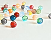 SALE 12 pcs Assorted Colored Hand Blown Hollow Glass Beads, Mini Colorful Glass Beads,13mm Beads - Round Assorted Colors, 0.5 inches or 13mm