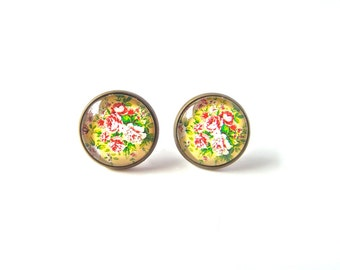 18mm Yellow Antique Flower Earrings, Antique Flower Stud Earrings,  Antique Post Earrings Floral Antique Studs Yellow Antique Flower Jewelry