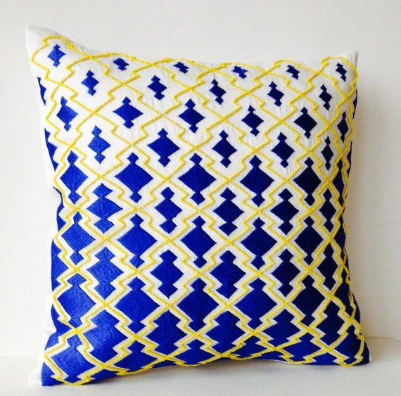Yellow Throw Pillow Cases : Items similar to Throw Pillow Case, Blue Yellow Decorative Pillowcase in Thread and Beads ...