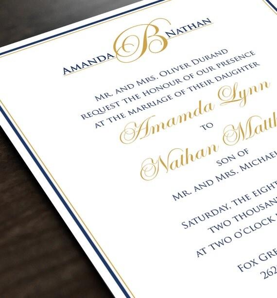 Monogram Wedding Invitation Personalized Wedding Invite And