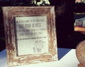 Unplugged Wedding Sign - No cameras or cellphones - Printable file