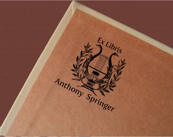 Ex Libris Stamp, Custom Book Stamp, Personalized Book Stamp, Bookplate, Ex Libris, Springer