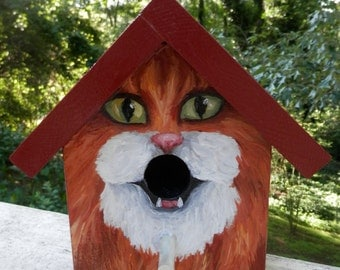 Bird House Hand Painted Custom Orange Tuxedo Cat Design Wood Outdoor