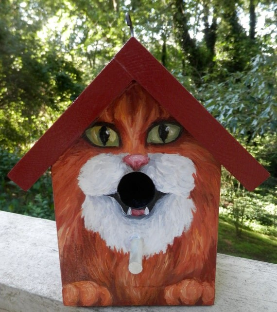 Bird House Hand Painted Custom Orange Tuxedo Cat Design Wood
