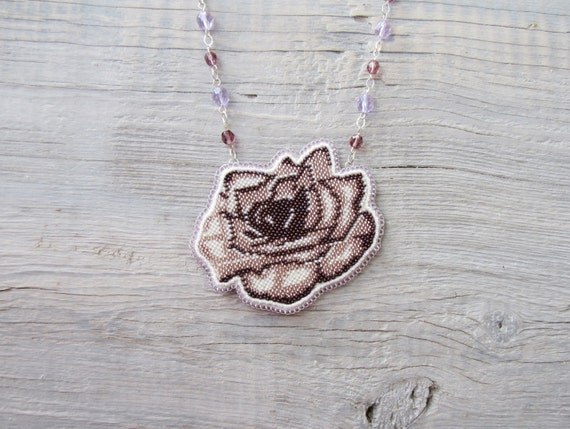 flower necklace, Embroidered Necklace