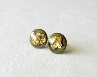 Gold flake post earrings- Unique stud earrings- Modern everyday jewelry