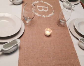 "Burlap Table Runner 16"" or 18"" wide Monogram with Lace - Wedding runner Holiday decorating Home decor Wedding gift Housewarming gift"