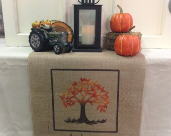 "Burlap Table Runner 16"" or 18"" wide with Autumn and fall tree Fall runner Holiday decorating Fall decor Autumn decor"