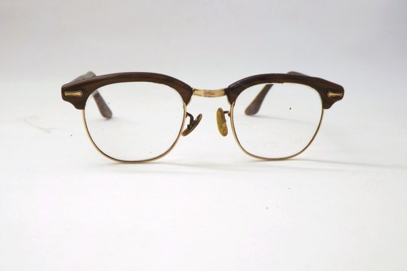 Vintage Retro 50s 60s Brown Black Swirl Mens Shuron Prescription Eyeglasses Square Frames Eyewear Spectacles