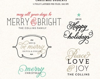 Digital Christmas overlays - holiday photo card overlays template PSD