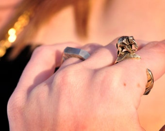 Elephant Crescent Moon Ring Celestial in Brass: Olympia