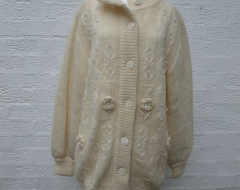 Mohair cardigan size16 jacket wool knit cardigan women's clothing winter cardigan chunky clothes cardigan 1980s vintage wool knitted jacket.