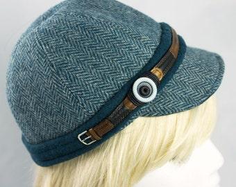 Wool Tweed Cycling Cap | 6 Piece Baseball Cap for Women | Riding Hat | Wool Ballcap | Herringbone Teal, Black or Brown | Custom XS to XXL