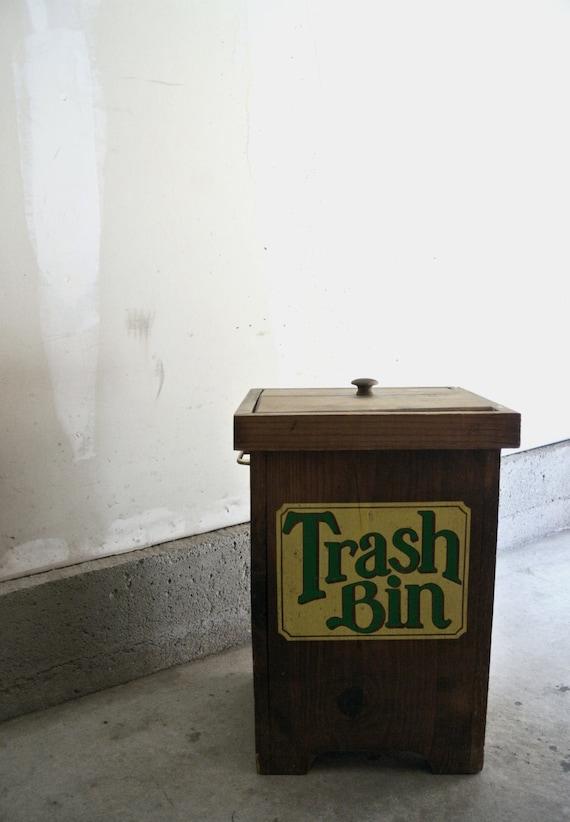 Vintage Wood Trash Bin Trash Can Man Cave Furniture Log