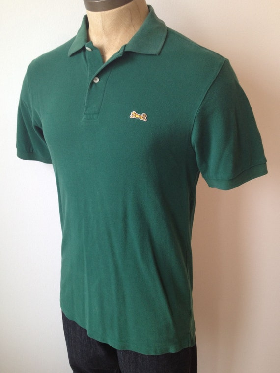 Vintage mens le tigre forest green polo shirt size by for Forest green polo shirts