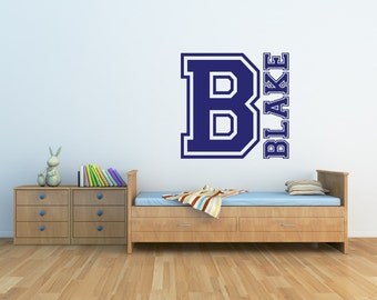 Sports Name Wall Decal - Sports Decor - Personalized Monogram Decal Boys Name Wall Decal Nursery Decor Vinyl Wall Decal