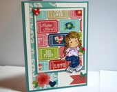 Happy Heart - Handmade Greeting Card - Love, Our Story, Tilda Stamped Cards, Anniversary, Valentine's Day Card