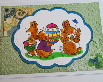Easter Cards - Bunnies Carrying Easter Eggs - Handmade Easter Greeting Cards