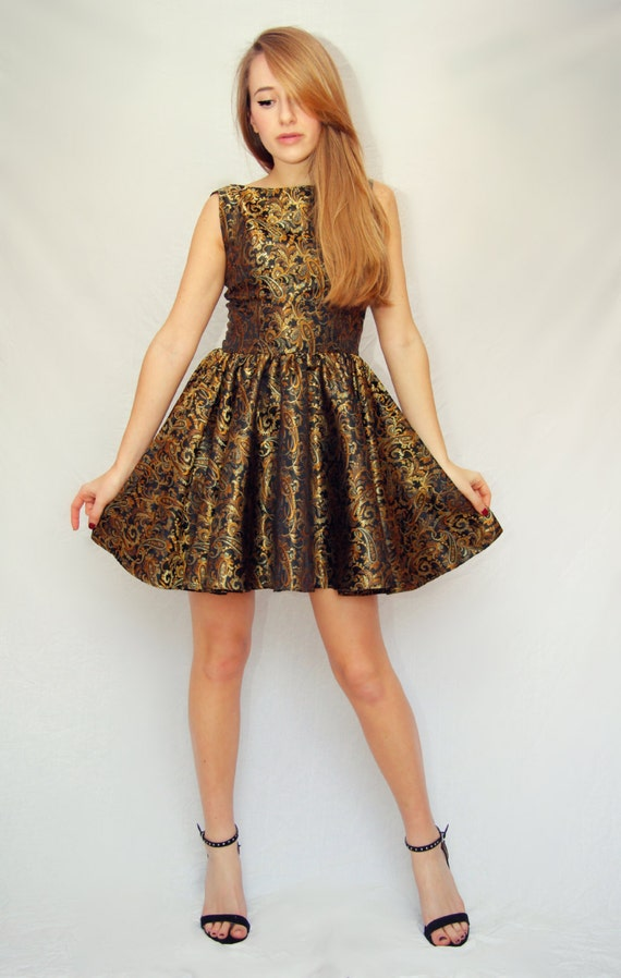 60s style paisley prom dress brocade party dress 60s evening