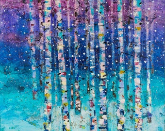 "Birch tree painting 20"" Original painting Aurora borealis Landscape painting  Love tree painting Abstract Purple Art by Calina Lefter"
