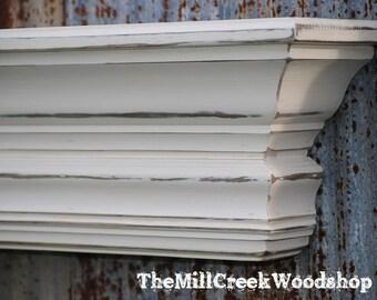 "Wall Shelf 72"" Fireplace Mantel Floating Ledge Mantle Distressed Wood Crown Molding Farmhouse Shelves Rustic Home Barn Decor"