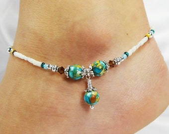 Anklet, Ankle Bracelet, Mosaic Turquoise Dangle, Blue Yellow Brown Ivory, Swarovski Crystals, Beaded, Customizable, Wedding, Beach, Vacation
