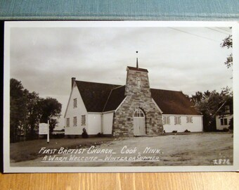 Vintage Photograph Postcard, First Baptist Church, Cook, Minnesota,1900s Paper Ephemera