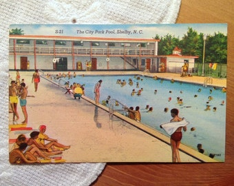 Vintage Postcard, City Park Pool, Shelby, North Carolina - 1940s Linen Paper Ephemera