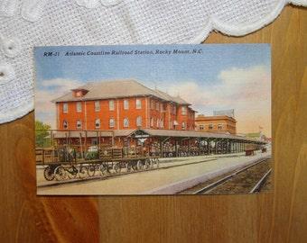 Vintage Postcard, Atlantic Coastline Railroad Station, Rocky Mount, North Carolina - 1940s Linen Paper Ephemera