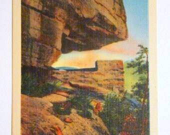 Vintage Postcard, The Opera Box, Chimney Rock Mountain, North Carolina - 1940s Linen Paper Ephemera