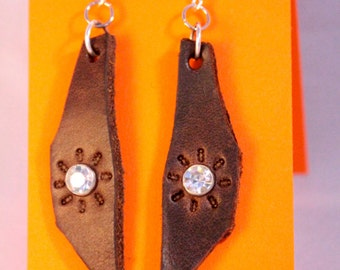 Brown Leather Sunburst Earrings with Clear Rhinestones