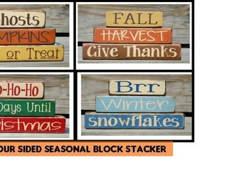 Four sided seasonal word block stackers with Christmas Countdown, Christmas Stacker, Halloween Stacker, Blocks